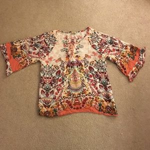 Democracy multicolored top with bell sleeves